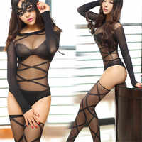 Sexy Lingerie For Women Sexy Pantyhose Black Transparent Tempation Sheer Bodysuits + Stockings Long Sleeve Detail Sexy Stockings