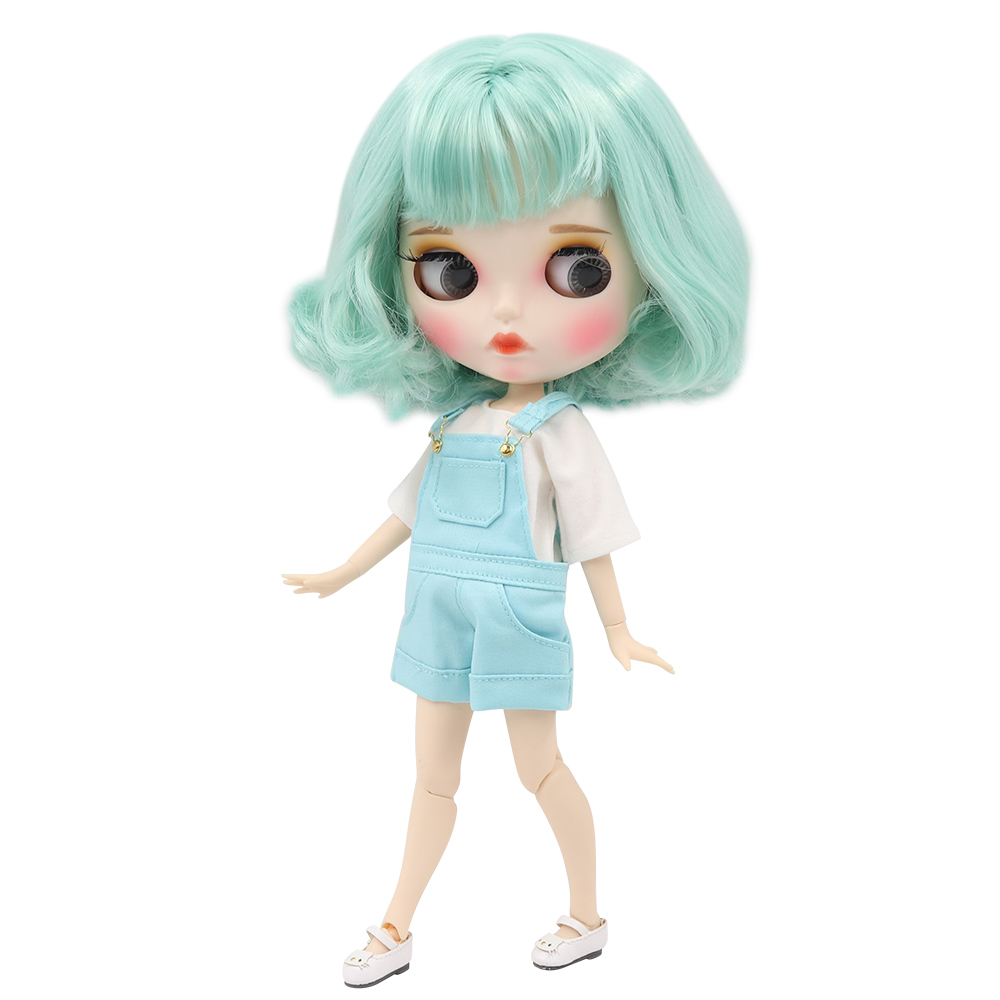 factory blyth doll 1 6 bjd white skin joint body mint green hair new matte face