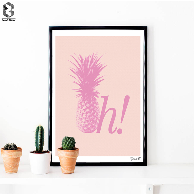 Pink Pineapple Hi Posters And Prints Wall Art Canvas Painting ...