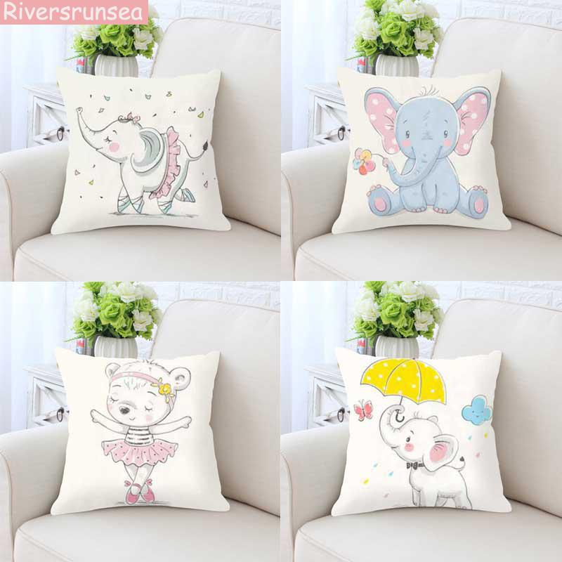 Cartoon Cute Animal Baby Elephant Pillow Lovely Bear Hippopotamus Dancing Love Balloon Plush Cushion For Home Kids Bedroom Decor