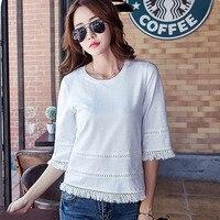 Chemise Femme Plus Size Women Blouses Cotton Summer Tops Tassel Top Casual Blouse Shirt Women Clothing