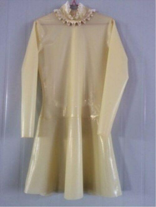 2019 Latex Dress 100% Rubber Gummi Transparent Ruffle Skirts Sexy Hip Size XL