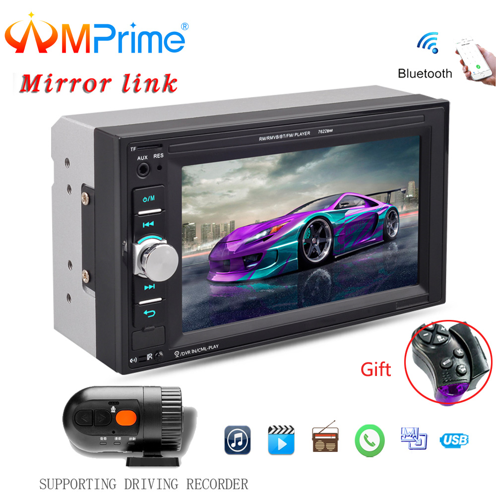 AMPrime 2 din 6.2 Car radio Bluetooth Touch screen AUX-IN USB TF MP5 MP4 Android phone with Rear camera Auto stereo Mirror Link