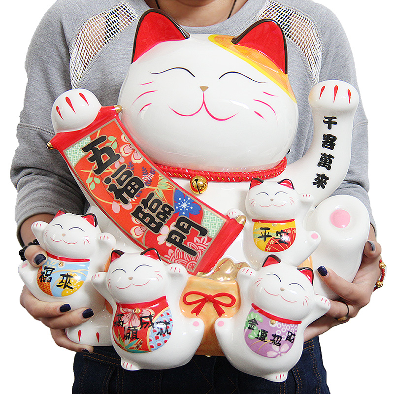 Cat hand Five blessings descend upon the house decoration large ceramic saving piggy bank gift shop opened in Japan