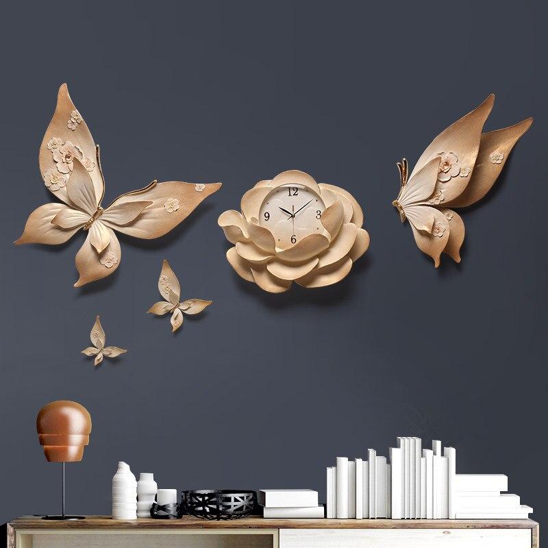 Relojes de pared estéreo 3D de personalidad de lujo flor para colgar en pared decoración de mariposas artesanías sala de estar KTV murales de pared - 2