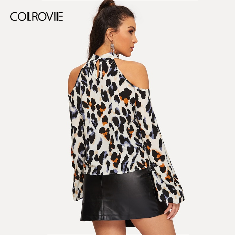 1c3da5b7b9c3 COLROVIE Cold Shoulder Leopard Print Blouse Women Shirts 2019 Spring Korean  Fashion Long Sleeve Shirt Elegant Office Ladies Tops-in Blouses & Shirts  from ...