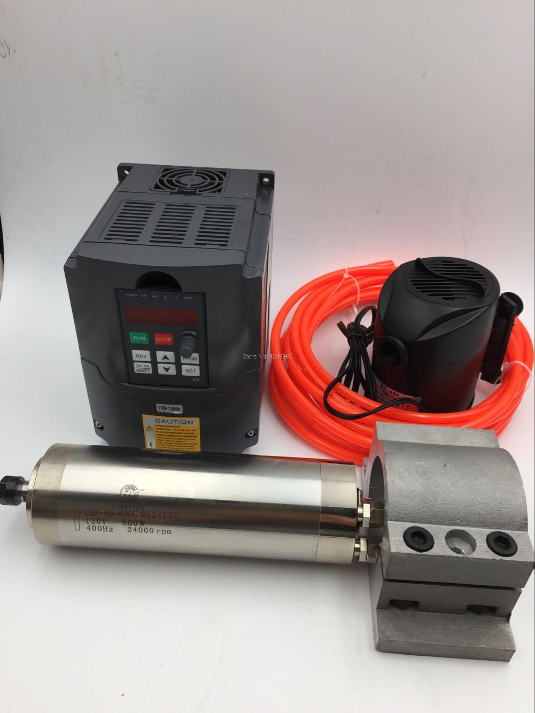 800W Water Cooling CNC <font><b>Spindle</b></font> <font><b>Motor</b></font> <font><b>110V</b></font>+1.5KW <font><b>110v</b></font> VFD Inverter + Bracket + Water Pump/Pipe for CNC Engraving Milling Machine image