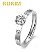 KWR195 Xukim Jewelry Stainless Steel Rings Women Ring Moissanite Stone Rings