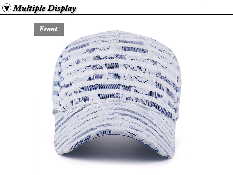 Lace over Denim Baseball Cap - Front View