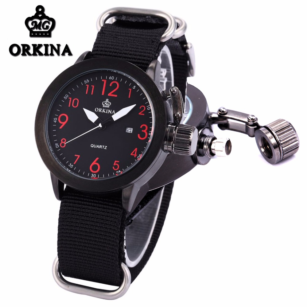 6 Colors Orkina Brand Male Nylon Band Date Display Sports Quartz Relojes Mujer 2016 Mens Black Case Watch Cool Herren Uhr Rot orkina relojes 2016 new clock mens watches top brand luxury herren cool watche for men with gift box montres