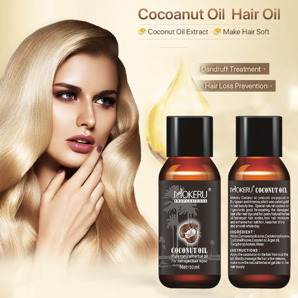 Mokeru 2pcs/Lot Natural Smoothing Repair Damaged Dry Hair Oil Spray Growing Virgin Coconut Oil Pure for Hair Skin Care Treatment 3