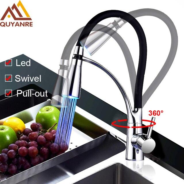 Quyanre Led Küchenarmaturen mit Gummi Design Chrome Mixer Wasserhahn ...