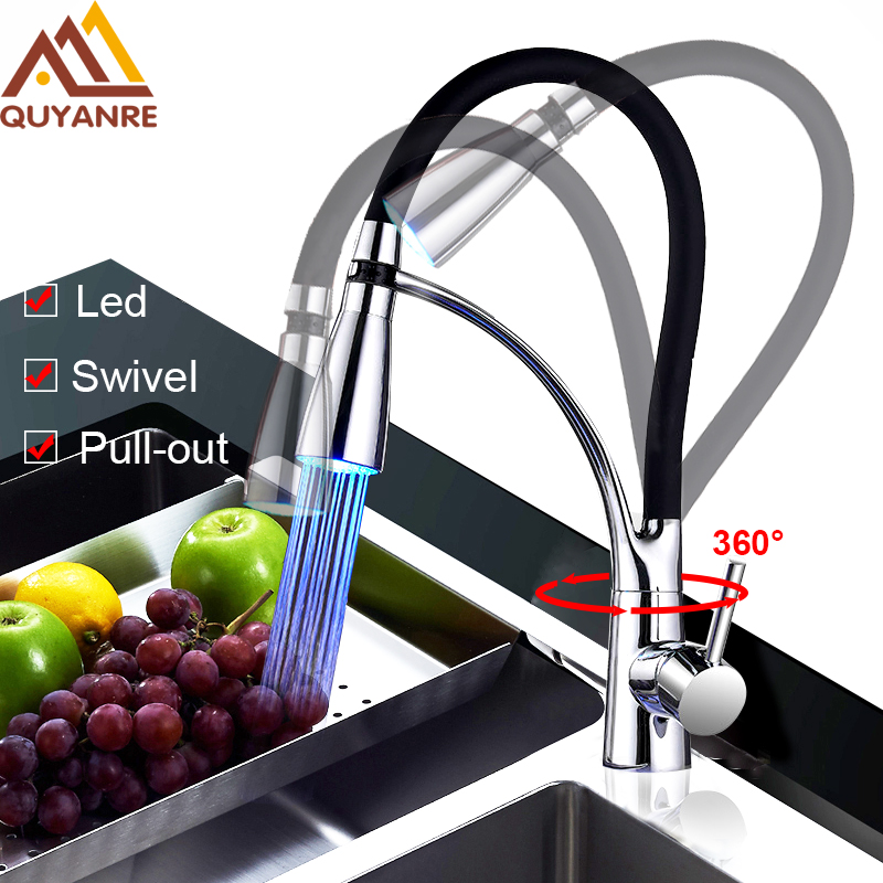 Фотография Quyanre Led Kitchen Faucets with Rubber Design Chrome Mixer Faucet for Kitchen Single Handle Pull Down Spray 360 Roatation Tap