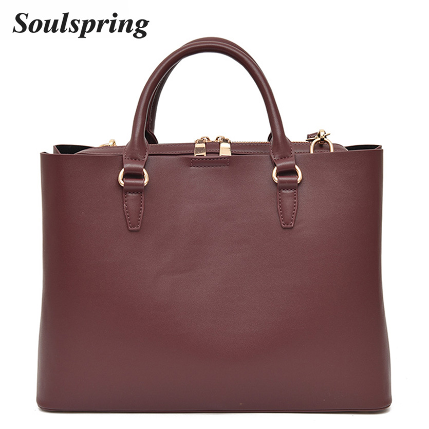 Brand Luxury Handbags Women Bags Designer Solid Leather Handbags High Quality Ladies Shoulder Bags Casual Tote Sac A Main 2017 luxury togo genuine leather bags famous brand designer handbags high quality office ladies tote shoulder bags for women 25 30