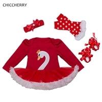 White Swan Red Lace Tutu Dress Headband Leg Warmers Crib Shoes Newborn Baby Girl Clothes Roupa