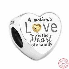 Coeur de la famille perles pour femmes fabrication de bijoux bricolage Fit PANDORA breloques argent 925 & 14K or non plaqué cadeau mère FL596K