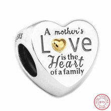 Heart of the Family Beads for Women Jewelry Making  DIY Fit PANDORA Charms Silver 925 & 14K Gold Not Plated Mothers Gift FL596K
