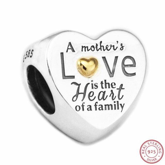 Kalp aile boncuk kadınlar takı yapımı için DIY Fit PANDORA Charms gümüş 925 & 14K altin değil kaplama anne hediye FL596K