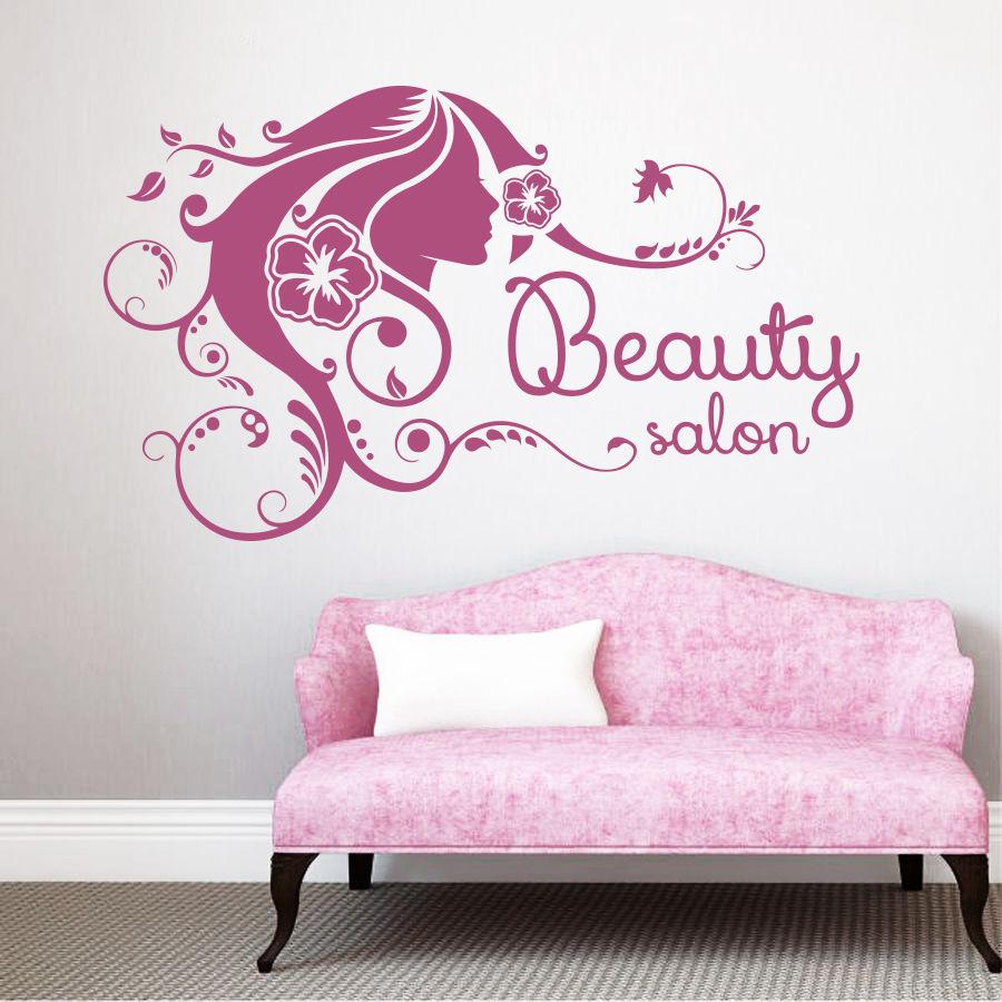 La Muchacha Del Salon De Belleza Peluqueria Flores Vinilo - Decoracion-vinilos-salon