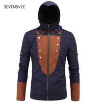 Assassins creed kostüm assassins creed ceket ile birlik arno hoodie siyah mavi gölge ile 5 değiştirilebilir M-5XL yamaları