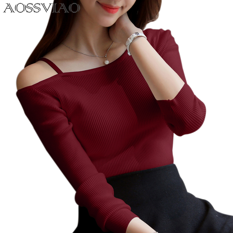AOSSVIAO 2020 Off Shoulder Sexy Women Long Sleeve Knitted Sweater Solid Skinny Slim Sweater Women Spring And Winter Pullovers