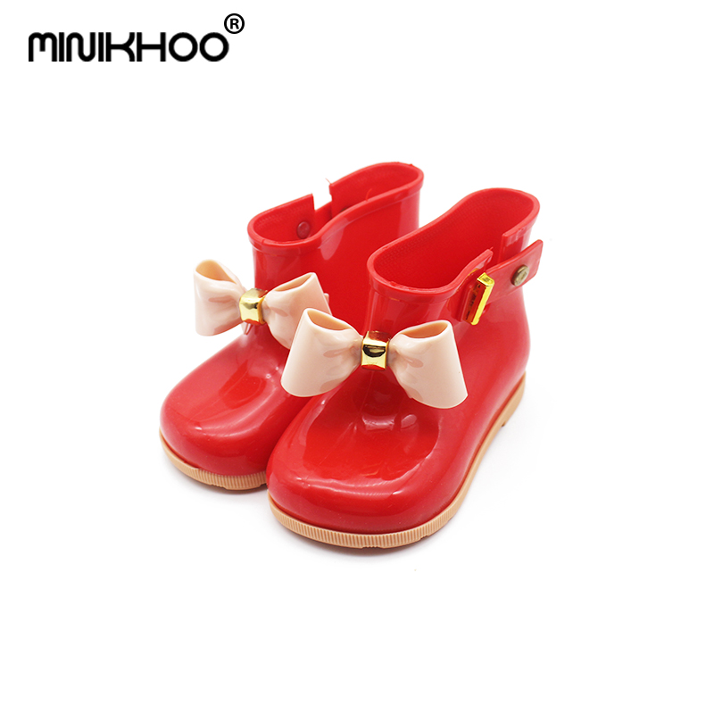 Mini Melissa 2018 New Children Jelly Bowknife Rain Boots Non-slip Waterproof Girls Rain Boots Melissa Jelly Shoes Princess Boots