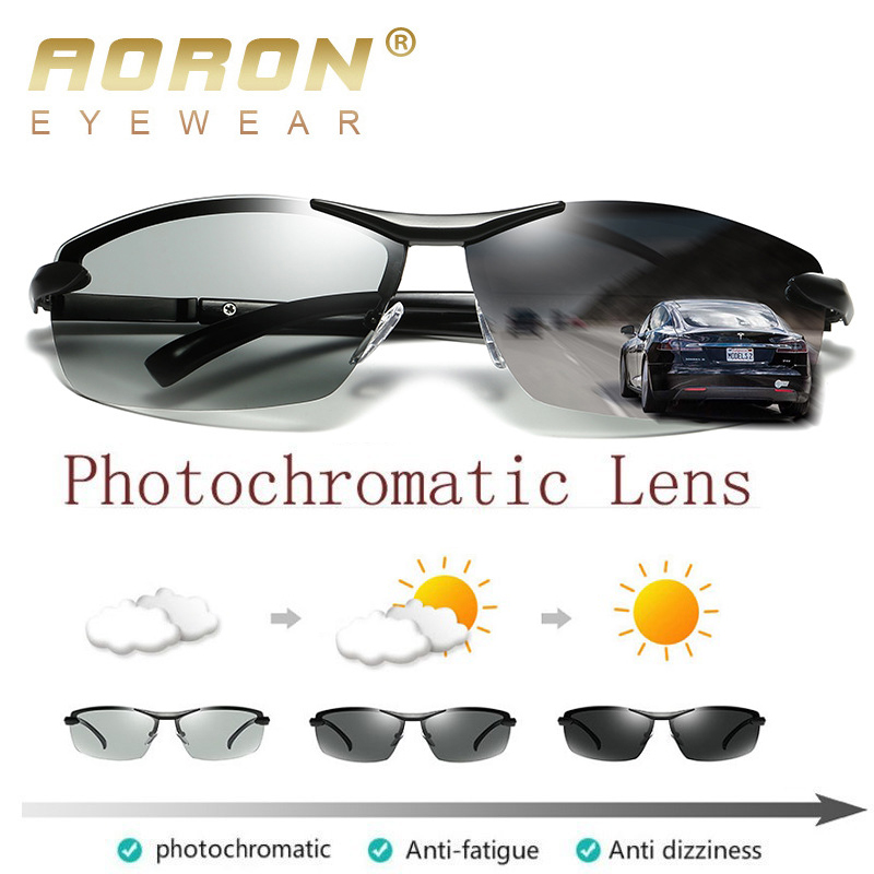 AORON Photochromic Polarized Sunglasses Men Discoloration Eyewear Anti Glare UV400 Glasses Driving Goggles Oculos