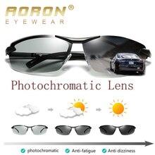 AORON Photochromic Polarized Sunglasses Men Discoloration Eyewear Anti Glare UV4