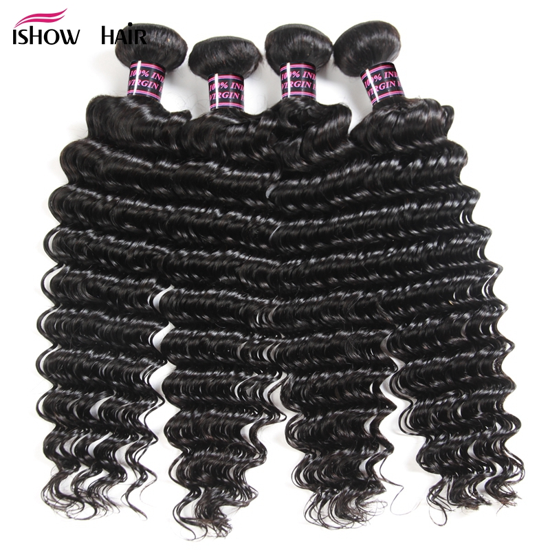 Ishow Peruvian Deep Wave Hair 4 Bundles Human Hair Weave Extension Non Remy Hair Bundles Natural