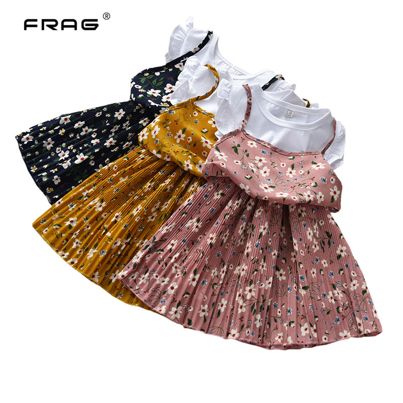 Summer Kids Girls Sling Dress Floral Print Princess Dresses For Girls Short Sleeve Fake Two Pieces Dress For 3 4 5 6 7 Years