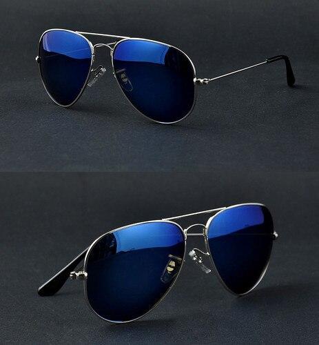 d1a21f793a Full Blue Mirrored Aviator Sunglasses Dark Tint Lens Silver Frame UV400 BNWT