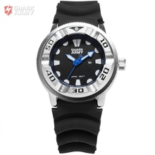 Brand Shark Army Electroplate Case Date Display Outdoor Sport Calendar Blue Hands Silicone Band Men Quartz Military Watch/SAW102