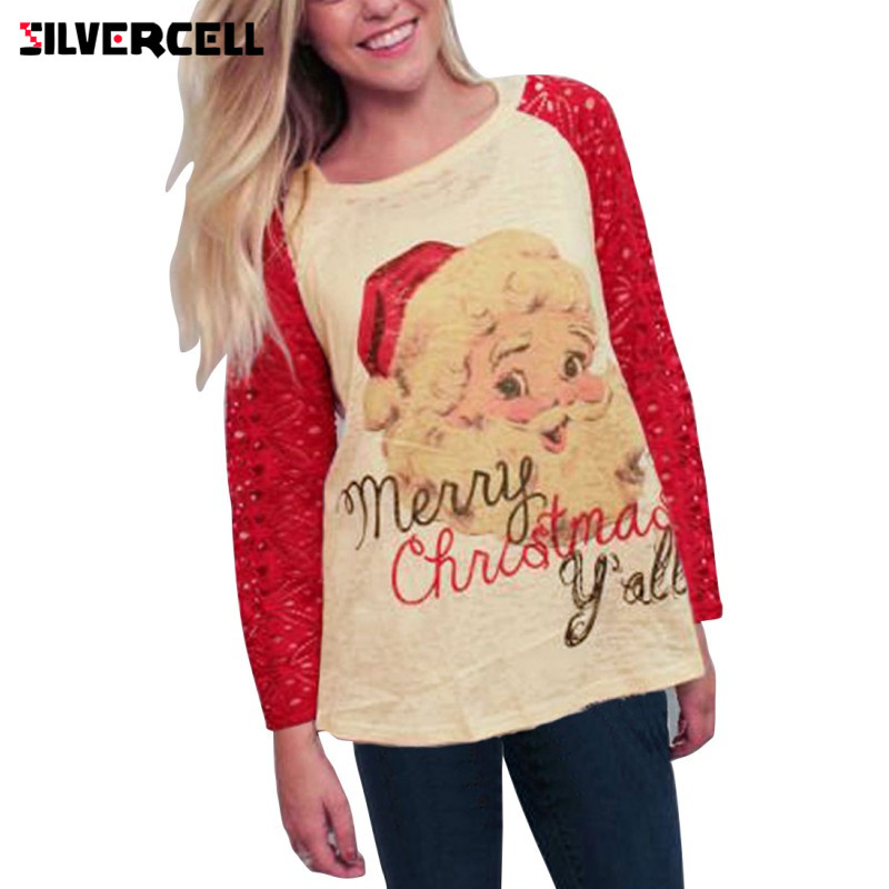 2017 Autumn Winter Long Sleeve Lace T Shirt Women Christmas Santa Claus Printed T-Shirt Female Casual Patchwork Tees Femme S-XL