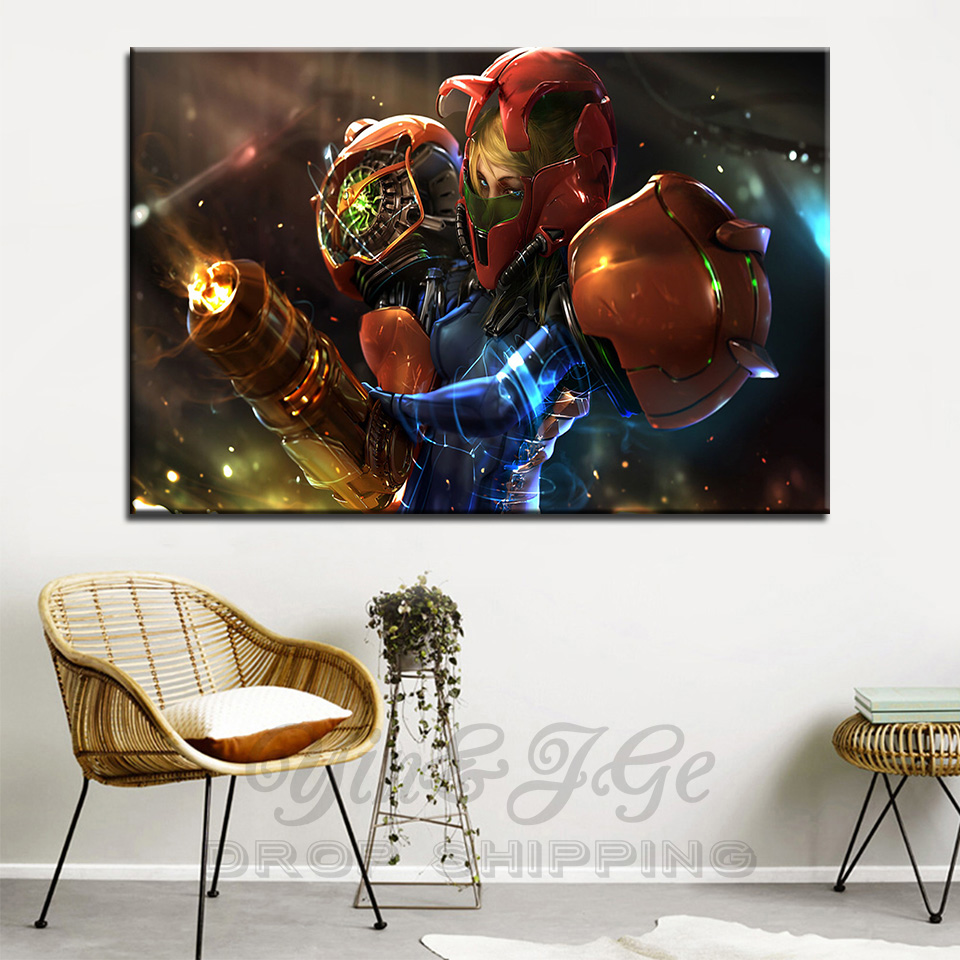 Art Pictures Decor Wall Poster 1 Pieces HD Print Metroid CGI Anime Samus Aran Video Games Frame Modular Canvas Painting Artworks image