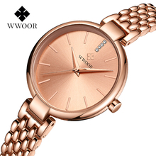 Top Brand WWOOR Rose Gold Watch Women Quartz Watches Ladies Crystal Luxury Female Wrist Watch Girl Clock Relogio Feminino Purple wwoor women watches top brand luxury stainless steel mesh band gold casual watch ladies business quartz watch relogio feminino