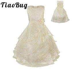 Tiaobug Bordado Flor Meninas Vestido Crianças Pageant Partido da Bola Vestido de Baile Princesa vestido de Noiva de Renda Formal Occassion Vestido Longo 4-14Y