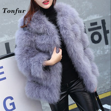 2019 Natural Long Hair Ostrich Fur Coat Luxury High Street Factory Discount Real Ostrich Fur Jacket tbsr113(China)