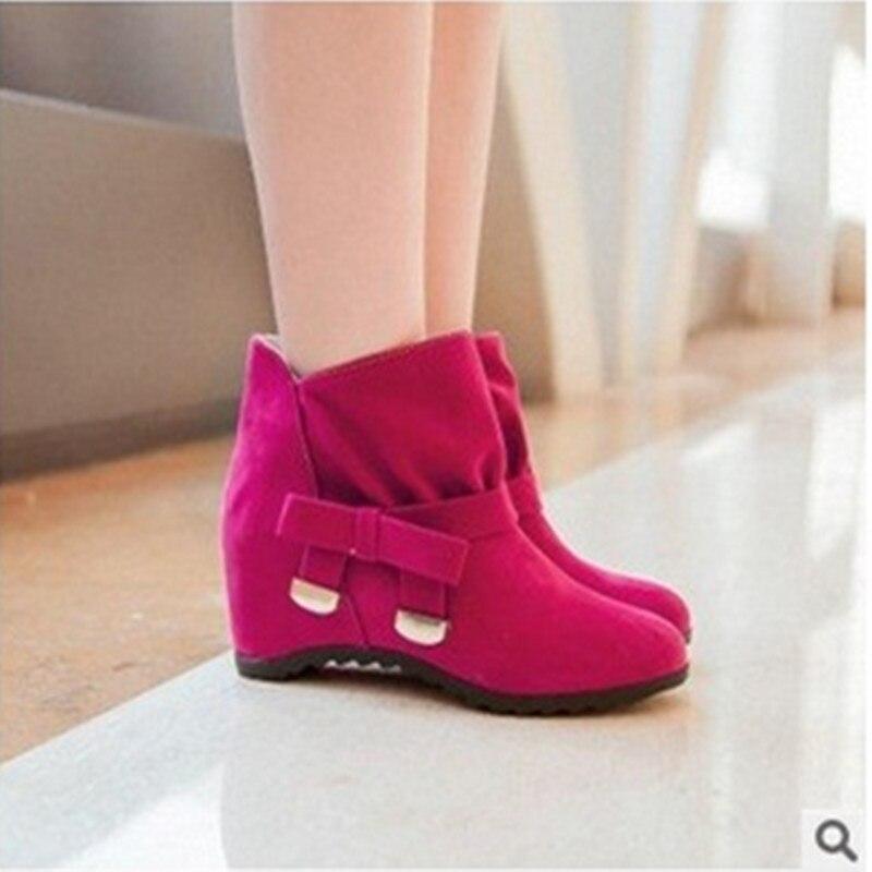 Modo delle signore più il formato (4-12) glitter flock altezza aumentato nei tacco arco breve caviglia inverno bootie zeppe tacchi alti stivali