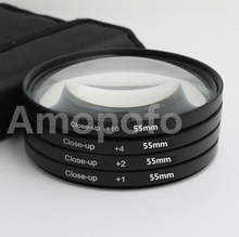 Alta Qualidade 55mm Macro Close-Up + 1 + 2 + 4 + 10 Macro Close-Up Kit filtro Para Canon e nikon DSLR Camera
