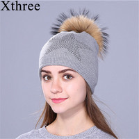 Xthree Autumn Winter Beanies Knitted Hat For Women And Girls Real Raccoon Fur Pom Pom Hat