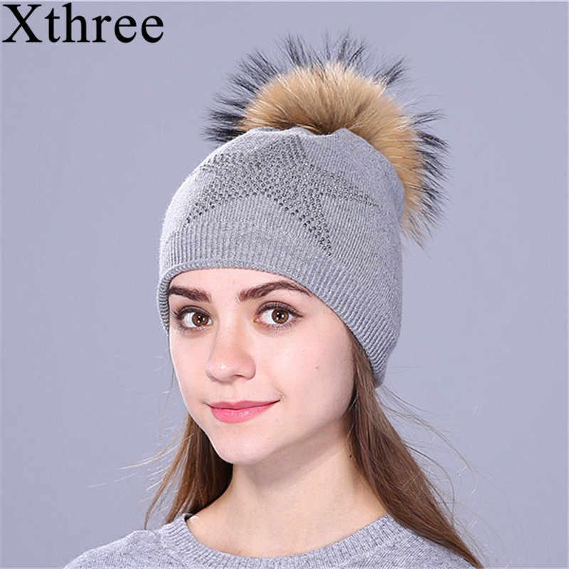 Xthree ฤดูหนาวห้าดาว beanies หมวกถักหมวกสำหรับผู้หญิงและเด็กหญิงจริง raccoon ขน pom pom หมวกขนสัตว์ skullies หมวกผู้หญิง