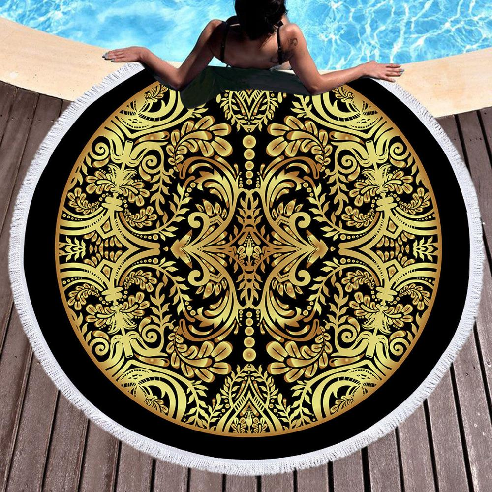 Dreamcatchers Round Beach Towel black gold color Bath Towel Microfiber Fabric 150cm Size black color in Bath Towels from Home Garden