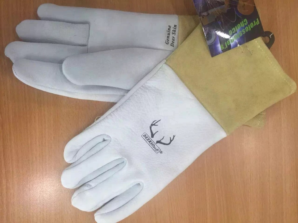 все цены на Leather Work Glove Leather welding Safety Glove Grain Deerskin Leather TIG MIG Gloves Leather Welder Glove онлайн