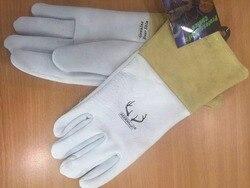 Skórzane rękawice robocze skórzane spawania rękawice ochronne ziarna ircha skórzane TIG MIG rękawice skórzane rękawice spawalnicze w Rękawice ochronne od Bezpieczeństwo i ochrona na
