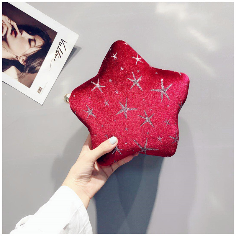 2018 New Flannelette Five-pointed Star Shoulder Bag, Starfish Printed Handbag with Chain Belonging To Cool Girl starfish printed waterproof shower curtain