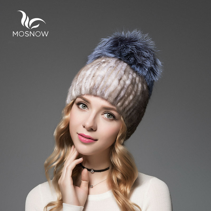 MOSNOW Brand New Caps Female For Winter Mink Fur Hats Fox Fluffy Pompons High Quality Knitted Elegant Ladies Beanie free shipping 2017 new dot turban hats hijab caps for women ladies