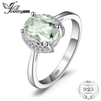 be23f81eaf0f JewelryPalace ovalada marca 1.8ct piedra Natural verde amatista anillo de compromiso  para las mujeres plata esterlina 925 joyería de la vendimia