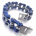 Men's Stainless Steel Bracelet Link Wrist Silver Blue Hollow Openwork Biker Punk Rock christmas charms for bracelets