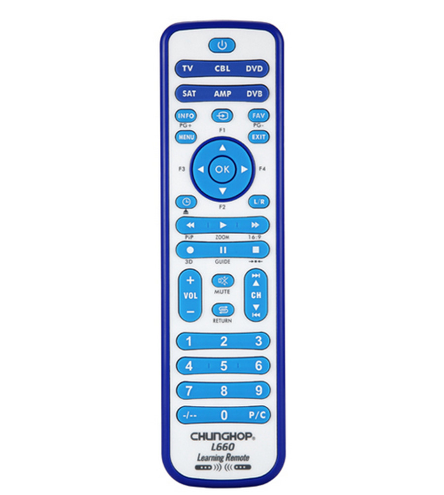 copy Combinational Universal Learning Remote Control For TV/SAT/DVD/CBL/DVB-T/AUX 3D SMART TV CE 1PCS Chunghop L660 copy universal smart remote control controller with learn function for tv dvd sat cbl drop shipping