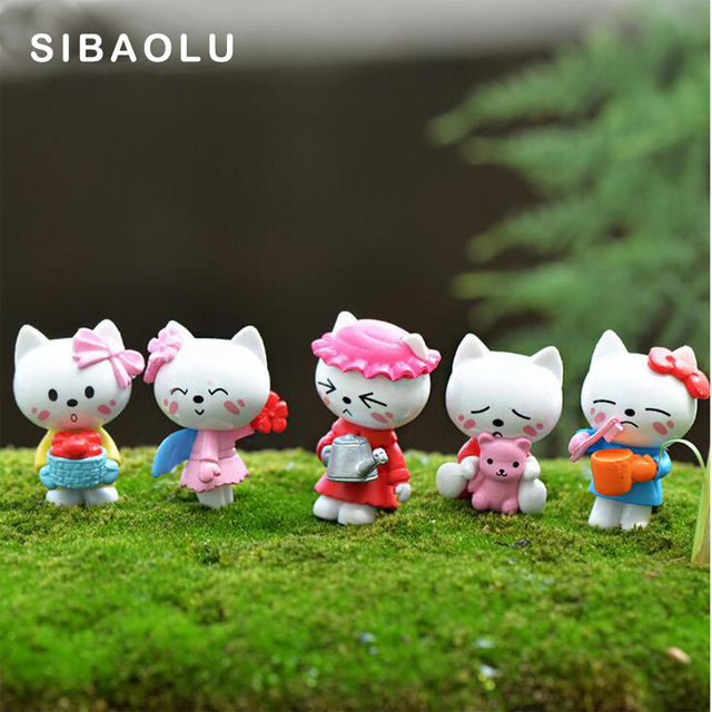 5pcs/lot Cute Cat miniature figurine cartoon character statue Model Kids gift japanese anime Resin craft ornaments